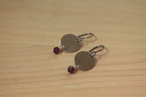 Personalized Letter Stamped with Birthstone Dangle - Titanium / Niobium / Surgical Steel Earrings
