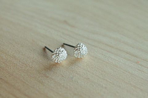 Dahlias - Silver & Black Niobium Post Earrings for Sensitive Ears / Metal Allergies - Nickel Free - Pretty Sensitive Ears
