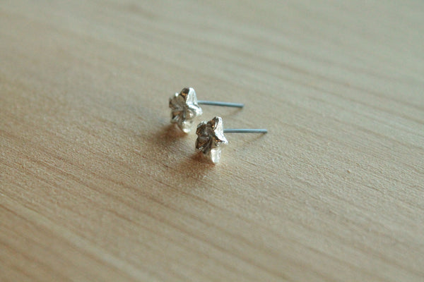 Hibiscus - Silver & Black Niobium Post Earrings for Sensitive Ears / Metal Allergies - Nickel Free - Pretty Sensitive Ears
