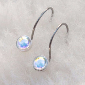 Aurora Borealis Cabochon Niobium Do-Drop Earrings for Sensitive Ears