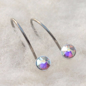 Aurora Borealis Crystal Niobium Do-Drop Earrings for Sensitive Ears