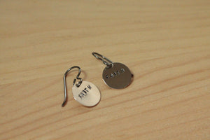 Word of the Year Personalized Hand Stamped - Titanium / Niobium / Surgical Steel Earrings - Pretty Sensitive Ears