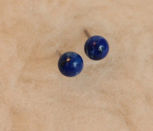 Blue Lapis Lazuli Gemstone, Small (Niobium, Titanium, or Surgical Steel Stud Earrings) - Pretty Sensitive Ears