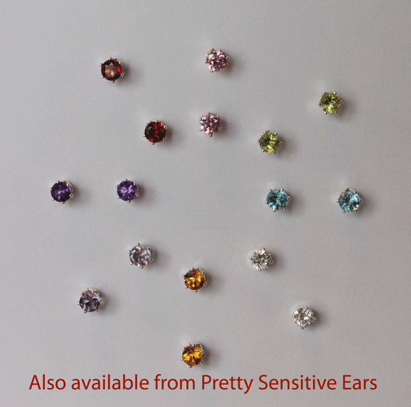Cubic Zirconia, XXL (Nickel Free, Hypoallergenic Argentium Silver Stud Earrings) - Pretty Sensitive Ears