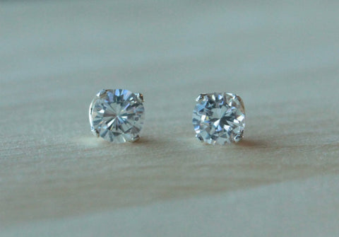Cubic Zirconia, Extra Large (Nickel Free, Hypoallergenic Argentium Silver Stud Earrings) - Pretty Sensitive Ears