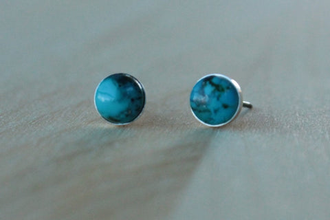 Turquoise Genuine Gemstone (6mm) Bezel Set on Titanium/Niobium Studs - Nickel Free & Hypoallergenic Post Earrings for Sensitive Ears - Pretty Sensitive Ears