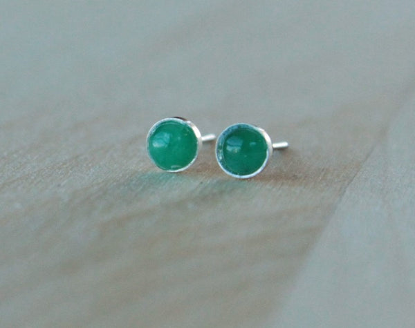 Emerald Bezel Gemstones, Small (Niobium or Titanium Post Earrings) - Pretty Sensitive Ears