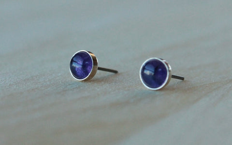 Genuine Amethyst Cabachon 6mm - Hypoallergenic Nickel Free Niobium Posts with Argentium Silver Bezels/Nickel Free Titanium Post and Bezel - Pretty Sensitive Ears