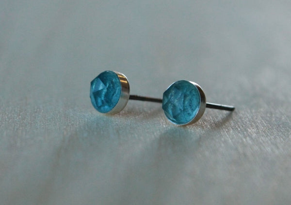 Rose Cut London Blue Topaz Bezel Gemstones, Large (Niobium or Titanium Post Earrings) - Pretty Sensitive Ears
