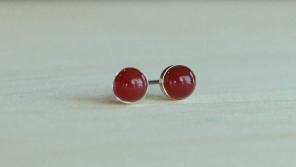 Carnelian Bezel Gemstones, Med (Niobium or Titanium Post Earrings) - Pretty Sensitive Ears