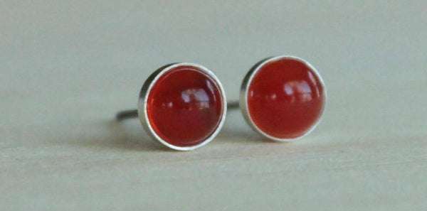 Carnelian Bezel Gemstones, Large (Niobium or Titanium Stud Earrings) - Pretty Sensitive Ears