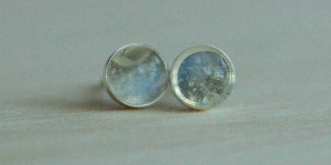 Adularia (Blue Flash Ceylon Moonstone) Bezel Gemstones, Med (Niobium or Titanium Post Earrings) - Pretty Sensitive Ears
