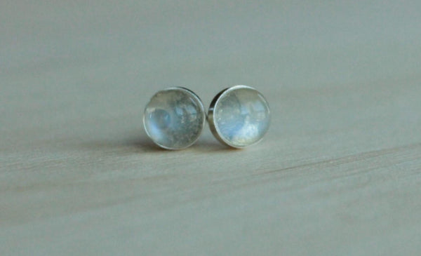 Adularia (Blue Flash Ceylon Moonstone) Bezel Gemstones, Large (Niobium or Titanium Post Earrings) - Pretty Sensitive Ears