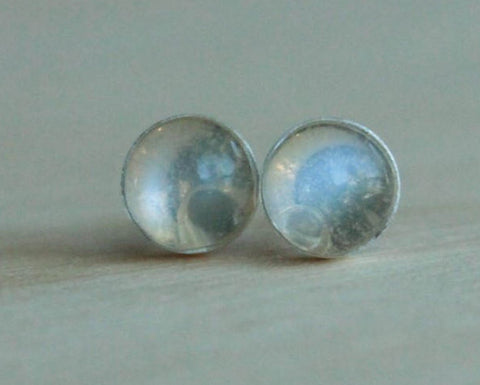 Adularia (Blue Flash Ceylon Moonstone) 6mm Gemstone Bezel Set on Titanium/Niobium Posts - Hypoallergenic Stud Earrings for Sensitive Ears - Pretty Sensitive Ears