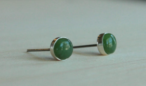 Nephrite Jade Bezel Gemstones, Large (Niobium or Titanium Post Earrings) - Pretty Sensitive Ears