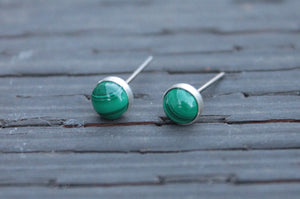 Malachite Bezel Gemstones, Large (Niobium or Titanium Stud Earrings) - Pretty Sensitive Ears