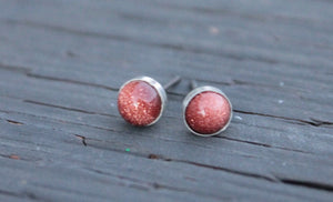 Goldstone Bezel Gemstone, Large (Hypoallergenic Niobium or Titanium Post Earrings) - Pretty Sensitive Ears