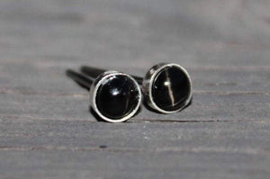 Black Star Diopside Bezel Gemstones, Small (Niobium or Titanium Post Earrings) - Pretty Sensitive Ears