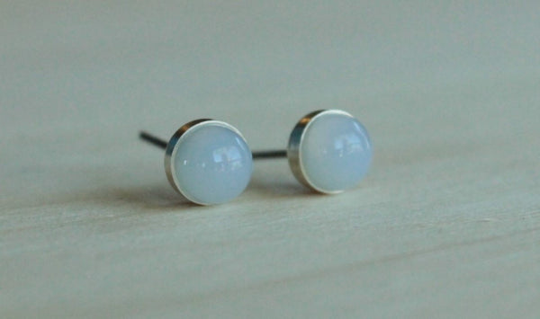 Blue Chalcedony Bezel Gemstones, Large (Niobium or Titanium Post Earrings) - Pretty Sensitive Ears