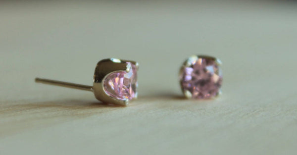 Pink Cubic Zirconia, Large (Nickel Free, Hypoallergenic Argentium Silver Stud Earrings) - Pretty Sensitive Ears