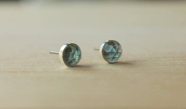 Rose Cut Sky Blue Topaz Bezel Gemstones, Large (Niobium or Titanium Stud Earrings) - Pretty Sensitive Ears