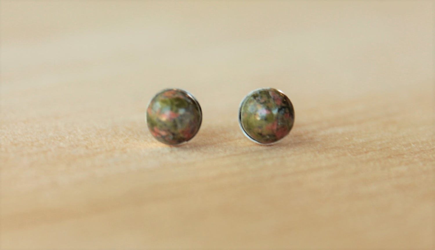 Unakite Gemstone Bezels (Niobium or Titanium Post Earrings) - Pretty Sensitive Ears