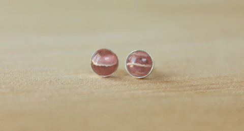 Rhodochrosite Bezel Gemstones, Large (Niobium or Titanium Stud Earrings) - Pretty Sensitive Ears