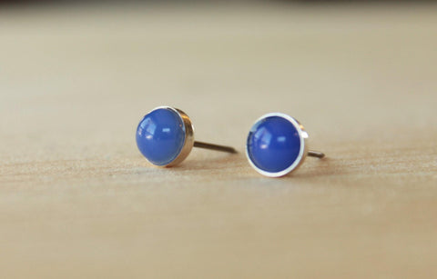 Blue Onyx Bezel Gemstones, Large (Niobium or Titanium Post Earrings) - Pretty Sensitive Ears