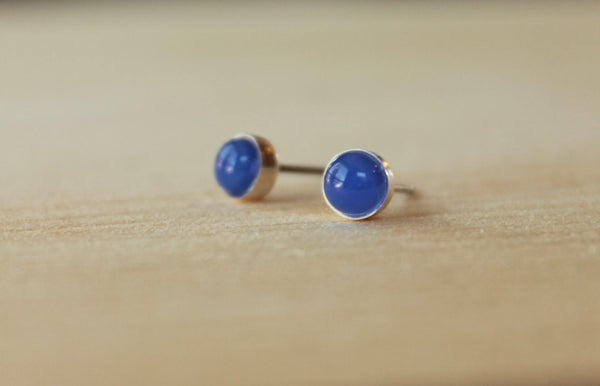 Blue Onyx Bezel Gemstones, Med (Niobium or Titanium Post Earrings) - Pretty Sensitive Ears