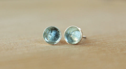 Sky Blue Topaz Bezel Gemstones, Large (Niobium or Titanium Post Earrings) - Pretty Sensitive Ears