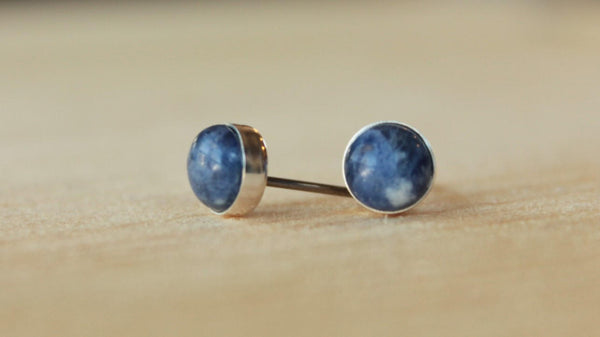 Sodalite Bezel Gemstone Large (Niobium or Titanium Studs) - Pretty Sensitive Ears