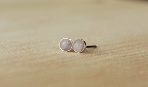 Rose Quartz Bezel Gemstone, Small (Niobium or Titanium Post Earrings) - Pretty Sensitive Ears