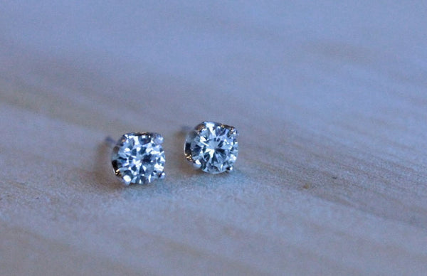 Moissanite Argentium Silver Earrings - Forever One Round Brilliant - Nickel Free and Hypoallergenic - Pretty Sensitive Ears