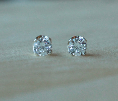 Cubic Zirconia, Large (Nickel Free, Hypoallergenic Argentium Silver Stud Earrings) - Pretty Sensitive Ears