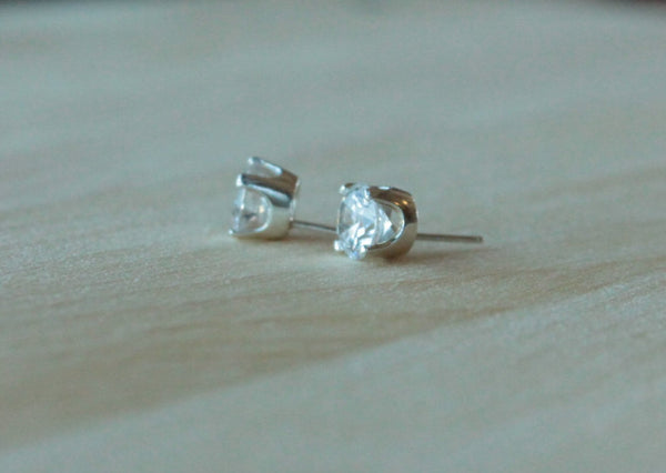 7mm Cubic Zirconia Argentium Silver Earrings - 4 Prong - Nickel Free Hypoallergenic Stud Earrings - Pretty Sensitive Ears