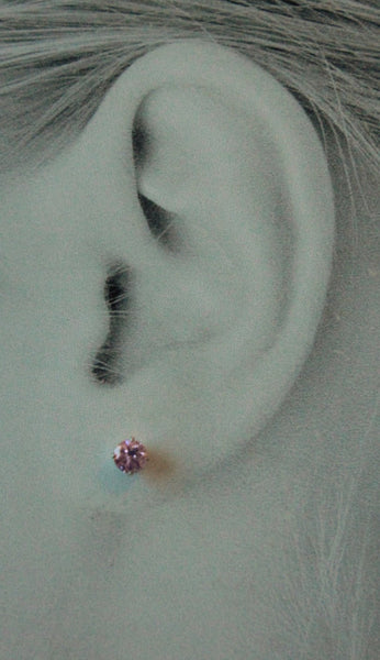 Pink Cubic Zirconia, Small (Nickel Free, Hypoallergenic Argentium Silver Stud Earrings) - Pretty Sensitive Ears