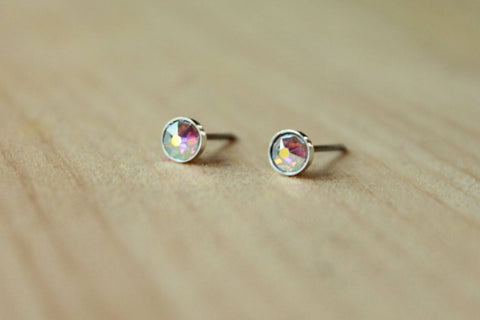 Aurora Borealis Xirius Crystal Bezels (Niobium or Titanium Studs) - Pretty Sensitive Ears