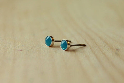 Caribbean Blue Opal Swarovski Crystal Bezel (Niobium or Titanium Post Earrings) - Pretty Sensitive Ears