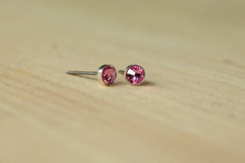 Rose Pink Crystal Bezel (Nickel Free Niobium or Titanium Post Earrings) - Pretty Sensitive Ears