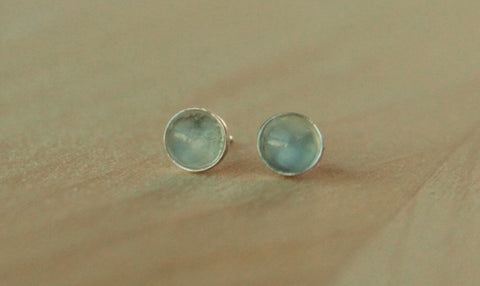 Catseye Moonstone Bezel Gemstones, Med (Niobium or Titanium Post Earrings) - Pretty Sensitive Ears