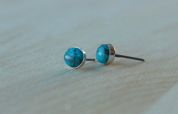 Turquoise Bezel Gemstone (Titanium or Niobium Studs for sensitive ears) - Pretty Sensitive Ears