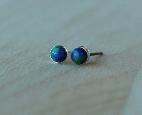 "Azurite-Malachite ""Earth Day"" Genuine 4mm Gemstones Bezel Set on Niobium or Titanium posts - Hypoallergenic Stud Earrings for Sensitive Ears - Pretty Sensitive Ears"