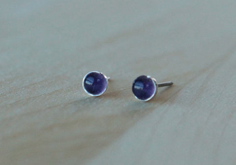 Genuine Amethyst Cabachon 4mm - Hypoallergenic Nickel Free Niobium Posts with Argentium Silver Bezels/Nickel Free Titanium Post and Bezel - Pretty Sensitive Ears