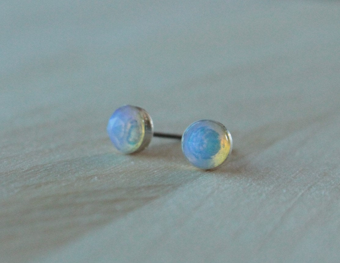 Rose Cut Ethiopian Opal Bezel Gemstones, Large (Niobium or Titanium Post Earrings) - Pretty Sensitive Ears