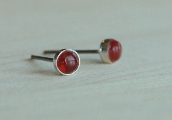 Carnelian Bezel Gemstones, Small (Niobium or Titanium Post Earrings) - Pretty Sensitive Ears