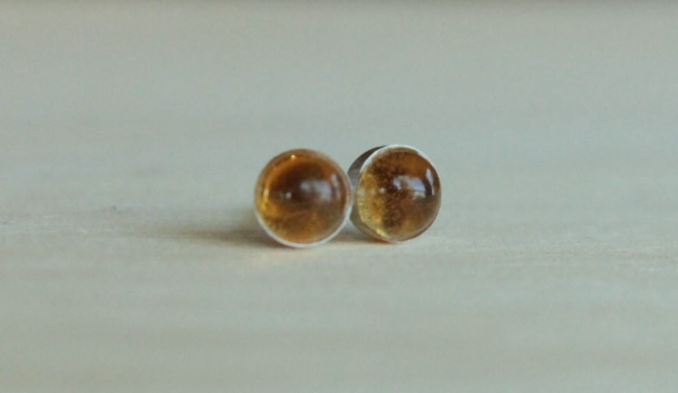 Citrine Bezel Gemstones, Med (Niobium or Titanium Post Earrings) - Pretty Sensitive Ears