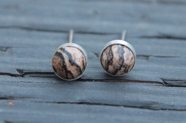 Picture Jasper Bezel Gemstones, Large (Niobium or Titanium Post Earrings) - Pretty Sensitive Ears