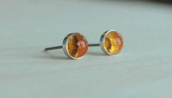 Citrine Bezel Gemstones, Large (Niobium or Titanium Post Earrings) - Pretty Sensitive Ears