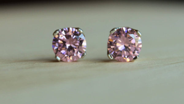 Pink Cubic Zirconia, XXL (Nickel Free, Hypoallergenic Argentium Silver Stud Earrings) - Pretty Sensitive Ears