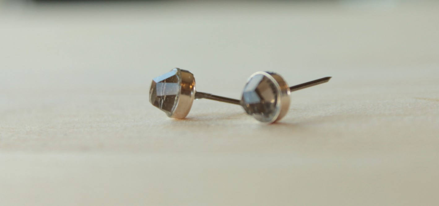 Rose Cut Smoky Quartz Bezel Gemstones, Large (Niobium or Titanium Post Earrings) - Pretty Sensitive Ears